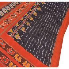 Sanskriti Vintage Indian Saree Hand Woven Patola Sari Fabric Art Silk Soft Blue
