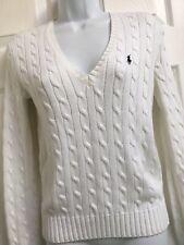 RALPH LAUREN Sz/M White 100% Cotton Cable Knit Long Sleeve Jumper