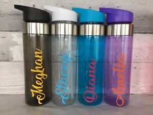 Flip Top Straw Personalised Name Water Drinks Bottle Kids Sports Teacher Gym