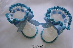 NEWBORN hand knitted girls or boys baby booties baby boots shoes HANDMADE