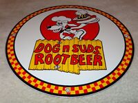 "VINTAGE ""DOG N SUDS ROOT BEER"" 11 3/4"" PORCELAIN METAL RESTAURANT SODA POP SIGN!"