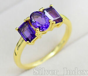 Natural Amethyst Gemstone February Birthstone 14K Yellow Gold Love Ring For Her
