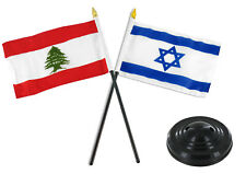 "Lebanon And Israel Flag 4""x6"" Desk Set Table Stick Black Base"