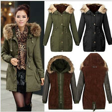 LADIES WOMENS JACKET HOODED WINTER TOP PARKER PARKA LONG COAT SIZE SMLXL OUTWEAR