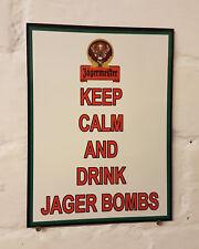Keep Calm y Drink Jager Bombs Metal Aluminio signo jagermister cerveza signos Cueva