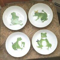 """Taste Setter Sigma """"Frolicking Frogs"""" 4 Salad Bowl / Plate Set"""