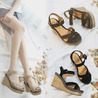 Women Sandals Suede Wedge Platforms Ankle Strap Open Toe Shoes Summer High Heels