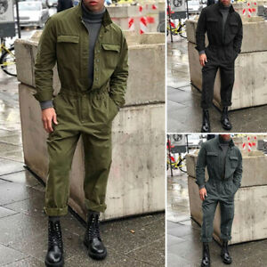 UK Men One-Piece Long Sleeve Button Up Jumpsuit Playsuit Overalls Workwear Pants