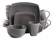 Square Dinnerware Set 16 Piece Dinner Plates Bowls Cups Ceramic Dishes Grey