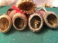 Vintage Christmas Egg Diorama Ornaments Cherubs/ Angels Inside Lot Of 5