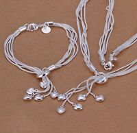925 Sterling Silver 5 Hearts  2pc Set Bracelet Necklace Ladies Jewellery Women