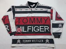 Vtg 90s Tommy Hilfiger Big Flag Logo Spell Out Color Block Long Sleeve Shirt M
