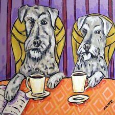 2 schnauzer coffee picture animal dog art tile coaster