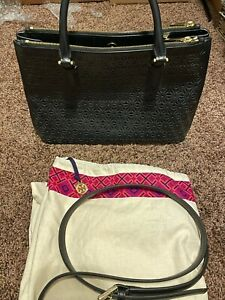 Tory Burch Black Leather Tote   Limited Edition  Great Shape
