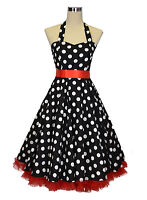 1950s Rockabilly Black Polka Dot Swing Dress & Separate Red Petticoat Vintage