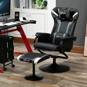 Vinsetto Video Game Chair Footrest Set Racing w/ Pedestal Base Home Office, Deep