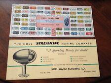VINTAGE HULL COMPASS 1941 LICENSE PLATE, STREAMLINE MARINE ADVERTISING PAPERWORK