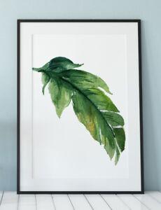 Banana Leaf BOHO Style Tropical Poster Modern Exotic Watercolour Print IKEA size
