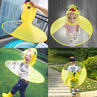 Cartoon Duck Kids Raincoat Umbrella UFO Shape Rain Hat Cape Foldable Classy VP