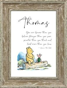 Winnie the Pooh And Piglet Name Picture Keepsake Gift A4 Print Only