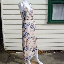 Unbranded Floral Summer Strapped Dress in Beige Mid Calf Length One Size