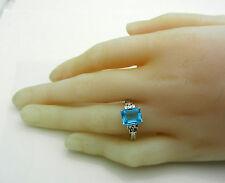 Estate Solid 10k White Gold Blue Topaz 3.40 ct and Diamond Ring size 7.75