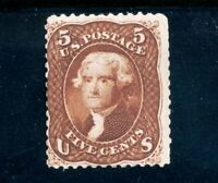 USAstamps Unused FVF US Series of 1861 Jefferson Scott 75 OG MNH