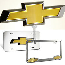 Chevrolet Chevy 3D Logo Stainless Steel License Plate Frame - 2pcs Front & Back
