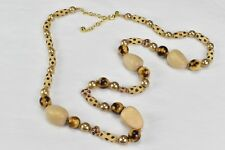 Joan Rivers Wooden Bead Faux Taupe Pearl and Painted Bead Safari Necklace 20""