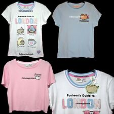 Official Pusheen Cat T-Shirt Crop Top Meowgical Rainbow Funny London White Pink