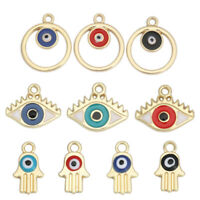 15x Jewelry Alloy Gold Enamel Assorted Mixed Moon Round Pendants Charms 53378
