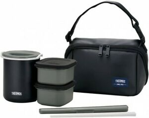 THERMOS Heat insulation Lunch box about 0.8 go Black DBQ-362 MTBK With Pouch