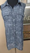 Lov Posh Blouse Womens Size Large Sheer Gray Animal Print Sleeveless Button Down