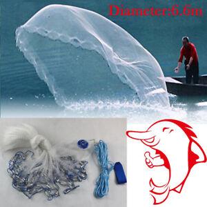 6.6M Full Spread Mesh Wire Hand Throw Nylon Cast Net Fishing Spin Bait+Sinker