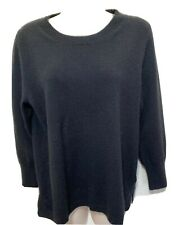 J. Crew Women's Knit Pullover Sweater Crew Neck 3/4 Sleeve Cashmere Black Sz L