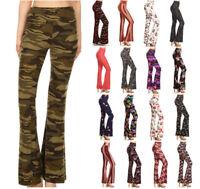 S-XL Women's Flared Leg Pants Prints Stretch High Waist Bell Bottoms Lounge
