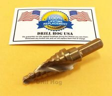 "1/4""-3/4"" Step Drill Bit Spiral Flute Cobalt UNIBIT Lifetime Warranty USA MADE"