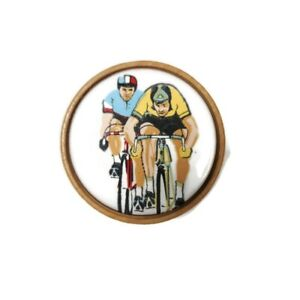 """F. Albrecht """"The Corker"""" Wood / Cork Bottle Stopper w/ Base Cycling Cyclists"""