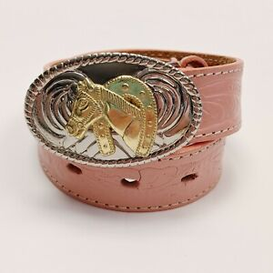 Nocona Girls Western Leather Belt 2T 3T 4T Small Toddler Pink Tooled N4410530-20
