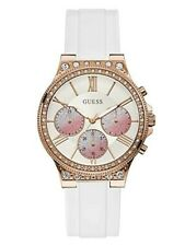 GUESS White And Rose Gold-Tone Multifunction Watch U1233L1 NWT