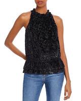 Ramy Brook Women's Printed Burnout Velvet Leopard Top Blouse Black Size XS