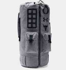 Under Armour Project Rock Backpack 60 Duffle Bag Grey 1345663-040 Water Resist