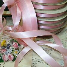 "50y Spool Vtg 5/8"" Baby Pink Satin Ribbon Shabby French Chic Victorian Cottage"