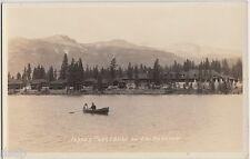 Old JASPER PARK LODGE Lac Beauvert Alberta Canada RPPC Postcard Boat Cabins