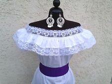 Mexican Blouse White Adelita On/Off Shoulder w/Small Purple Sash. Blusa Adelita