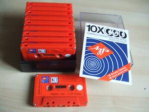 10 Used Vintage Agfa Gevaert ORANGE Cassette Tapes C90 Low Noise Lot 1