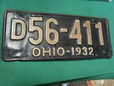 Great Collectible License Tag-1932 Ohio. D56-411