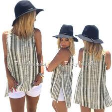 HOT Summer Casual Vest Top Sleeveless Linen Striped Blouse Tank Tops T-Shirt fb