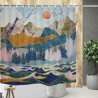 Gold Deer Abstract Gorgeous Art Rustic Farmhouse Chic Fabric Shower Curtain