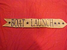 Boat Launch decorative nautical sign Folk Art Hand Painted on Bark style wood